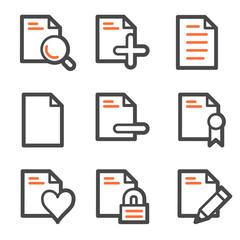 Document web icons set 2, orange and gray contour series