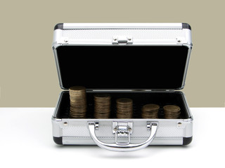 opened case with money