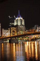 Highmark and PPG Buildings at Night