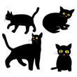 Hand drawn cat vector icons.