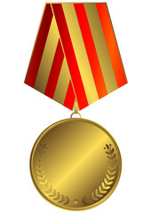 Gold medal with red and golden striped ribbon