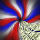 Flowing American currency for financial stimulus