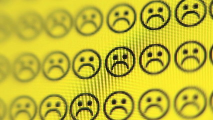 Smiley faces changes to frowns