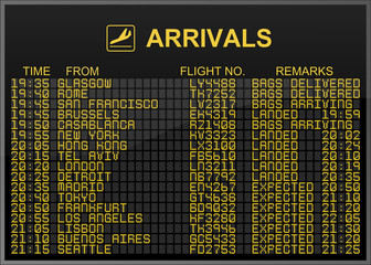 International Airport Arrivals Board