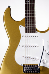 Gold Electric Guitar Isolated On White