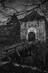 Scaring old castle in a storm weather