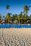 Many blue lounges on white sand beach
