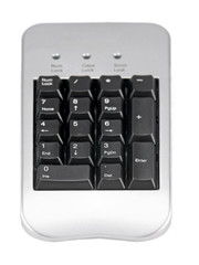 pc keyboard closeup view, isolated on white background
