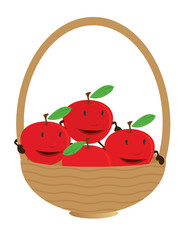 Apple characters in basket