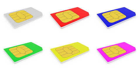 Closeup of a two sim card for cell phones