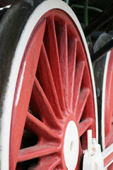 red locomotive wheel