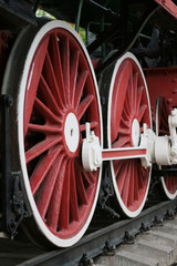 red locomotive wheels