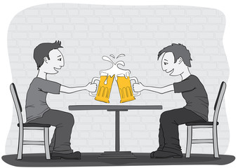 two friends drinking beer in the pub