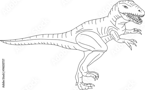 Vector contour t rex isolated on background fichier - Dessin de tyrannosaure ...