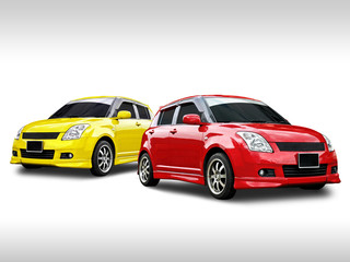 two car on white background