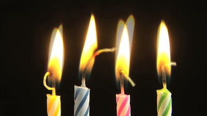 Birthday candles, time lapse, reversing