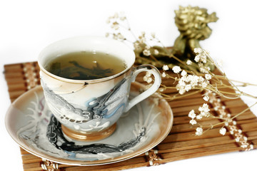 cup of green tea and cash isolated tree on a white background