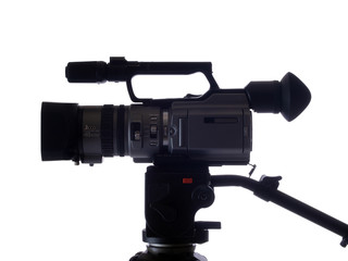 side view of video camera mounted on tripod