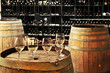 Wine  glasses and barrels - 14656914