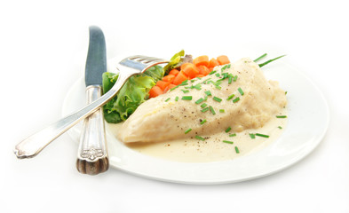 Chicken in Cream Sauce with Vegetable on White