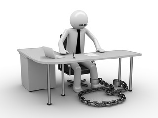 Man chained with office table (workplace) 1