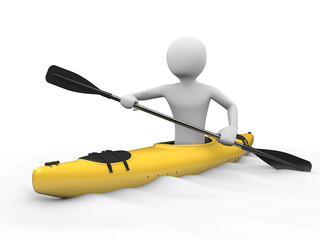 Kayaking, rafting: man in yellow  kayak