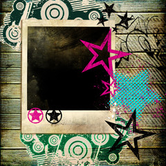 trendy background in disco style with instant frame