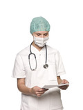 Nurse with stethoscope and a journal towards white background poster