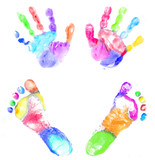 Fototapety Baby Multicolor handprint and footprint