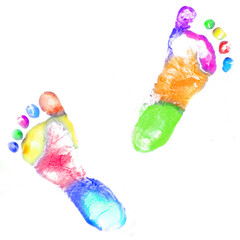 Multicolor baby footprint