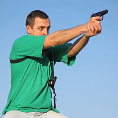 Man with black gun