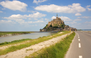 Mont Saint-Michel, rocky tidal island in Normandy, France