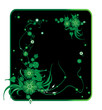 Vector frame. Green floral pattern on a black background