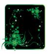 Vector frame. Green floral pattern on a black background