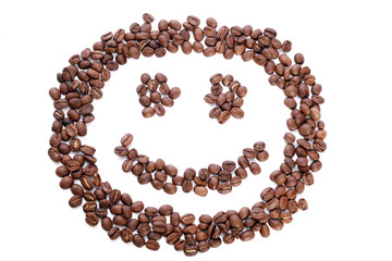 smile in coffee beans