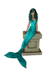 Aqua Hair Mermaid Sitting On A Pedestal