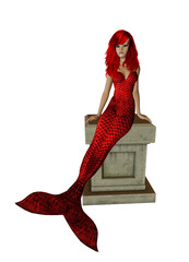 Red Hair Mermaid Sitting On A Pedestal