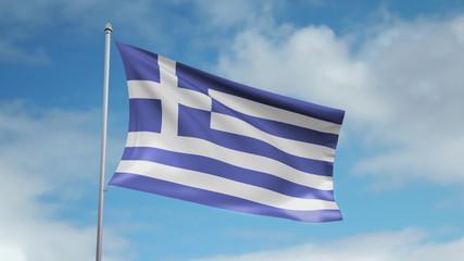 HD 1080p flag of Greece. Seamless loop.