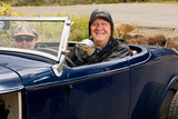 Happy Elderly Retired Couple in Classic car poster