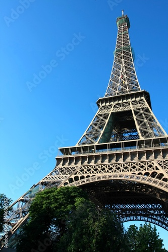 Wide-angle view of the Eiffel Tower