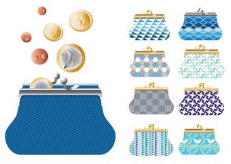 Série de porte-monnaie bleus et  monnaie euros