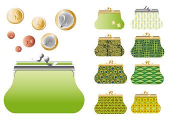 Série de porte-monnaie verts et  monnaie euros