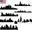 vector silhouettes of  USA biggest cities with  flag