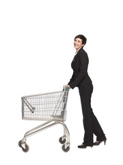 Woman with an empty shopping cart