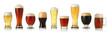 canvas print picture - Various glasses of different beers, isolated on white