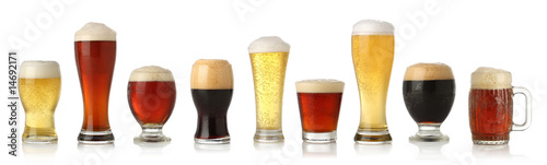 Various glasses of different beers, isolated on white - 14692171