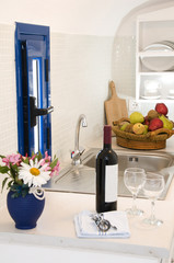 kitchenette kitchen in greek island villa apartment santorini