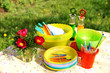 Bright color summer picnic plastic accessories, plates and dishe - 14694198
