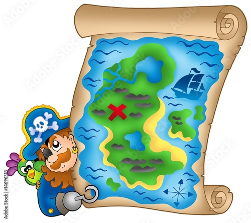 Fotobehang Piraten Treasure map with lurking pirate
