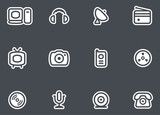 Media, Electronics & Communications  - Vector Icons Set poster
